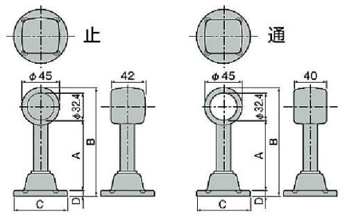 太さ32ミリパイプ用ステンレス製首長パイプブラケット長さ198ミリ