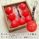 <あす楽>カラーゴルフボール 名入れ6個&キーホルダー【赤】...
