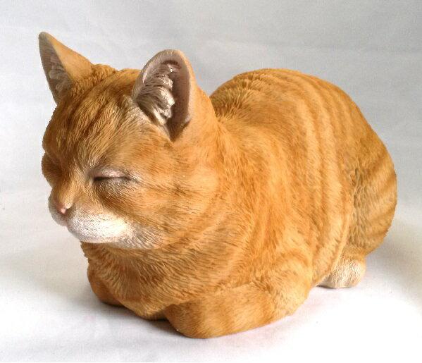 野川農園レジン製 香箱ねこ 猫 茶トラ ネコ  12688サイズ(約):W34.5cm×D19cm×H17cm