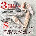 熊野天然流木Sサイズ 3個セット(サイズ・約10〜20cm以上)