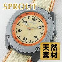 1本限り エコ腕時計 SPROUT スプラウト 腕時計 メンズ バンブーダイヤル ベージュ コットンストラップ ST30060RKH ビジネス 男性 ブランド 時計 誕生日 お祝い クリスマスプレゼント ギフト お洒落