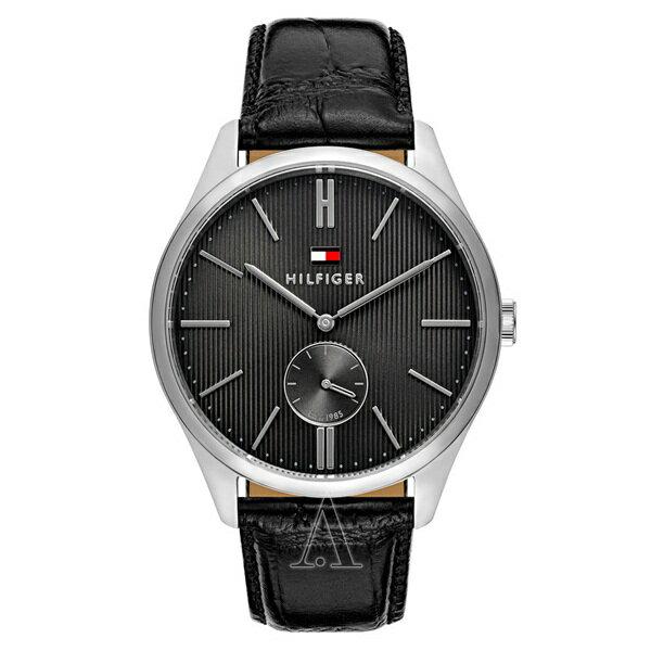 トミーヒルフィガー メンズ 腕時計 スモールセコンド シルバー ブラック クロコ レザー 1791168 ビジネス 男性 ブランド 時計 誕生日 お祝い クリスマスプレゼント ギフト お洒落