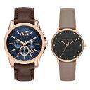 アルマーニエクスチェンジ 時計 メンズ レディース ペアウォッチ 腕時計 ブラウン グレーベージュ レザー AX2508AX5553 ブランド カップル 男女 ペアセット 時計 誕生日 お祝い プレゼント ギフト お洒落