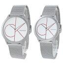 カルバンクライン 腕時計 おそろい ペアウォッチ メンズ レディース ミニマル シルバー 赤 メッシュベルト K3M51152K3M52152 ビジネス ..
