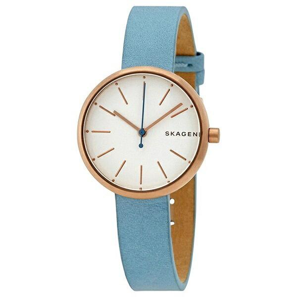 スカーゲン 時計 レディース 腕時計 シグネチャー ローズゴールド スカイブルー レザー SKW2621 ビジネス 女性 ブランド 誕生日 お祝い クリスマスプレゼント ギフト お洒落
