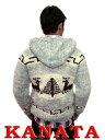 Kanata カウチンセーター 送料無料 代引き手数料無料 手編み バージンウール100% プレゼントに最適! 当店別注商品 鹿柄フード付き