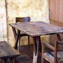 オーク木材ナチュラルダイニングテーブル 135 ヒーター付きダイニングテーブル オーク木材 エイジング加工 ナチュラル 国産品 ブラウン ヴィンテージ加工