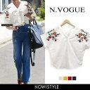 N.Vogue(エヌヴォーグ)刺繍入りフレンチスリーブシャツ...