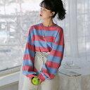 MERONGSHOP(メロンショップ)しましまバルーントレーナー【3/4up_wo】韓国 韓国ファッション トップス スウェット トレーナー しましま..