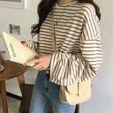 ワイド袖ボーダーTシャツ 【メール便】韓国 韓国ファッション...