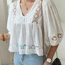 【スペシャルプライス】N.Vogue(エヌヴォーグ)レースクロップドブラウス【7/16up_mo】【送料無料】韓国 韓国ファッション クロップド..