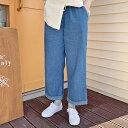 HOTPING(ホッピン)ロールアップワイドパンツ【4/30up】パンツ ズボン ワイドパンツ ジーンズ ライトデニム ダークデニム デニム ロールアップ ウエストゴム【5】※メール便不可