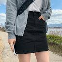 HOTPING(ホッピン)ベーシックミニスカートスカート【4/30up】 ミニスカート カットオフ ブラック アイボリー ライトベージュ【5】※メール便不可
