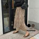 HOTPING(ホッピン)レオパードプリーツスカート【10/8up_ka】 レオパード ロングスカート プリーツ フレア スカート ブラック ブラウン【5】
