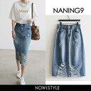 NANING9(ナンニング)ダメージデニムスカート【3/24up_go】韓国 韓国ファッション ボトムス スカート デニム デニムス…