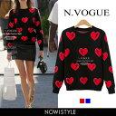 N.Vogue(エヌヴォーグ)ハート型セーター【10/27up_mo】【送料無料】韓国 韓国ファッション