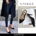 N.Vogue(エヌヴォーグ)スエード調ミュール【9/20up_mo】【送料無料】韓国 韓国ファッ
