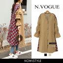 N.Vogue(エヌヴォーグ)チェック切替えノーカラーコート...