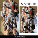 N.Vogue(エヌヴォーグ)スカーフパターンミニワンピース...
