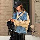 【アウターSALE】N.Vogue(エヌヴォーグ)ミックスデニムブルゾン【8/23up_mo】【送料無料】韓国 韓国ファッション ブルゾン デニム ジ..