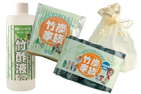 お得な『竹炭・竹酢液3点セット』【浄水・炊飯用竹...の商品画像