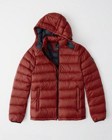 【新品】【USAモデル】アバクロ【Mensメンズ】取り外し可能フード パッカブルパファージャケット/Red【Removable Hood Packable Puffer】【Abercrombie&Fitch】【本物保証】
