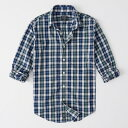 Abercrombie&Fitch (アバクロンビー&フィッチ) ストレッチ ボタンダウン チェックシャツ(長袖)(Check Poplin Shirt) メンズ (Blue And Green Plaid) 新品