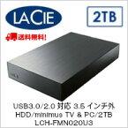 【送料無料】LaCie USB3.0/2.0対応 3.5インチ外付HDD/minimus TV & PC/2TB LCH-FMN020U3