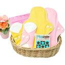 オーガニック布ナプキン4枚セット(おりもの&夜用|防水)洗剤・携帯袋付き 生理用品