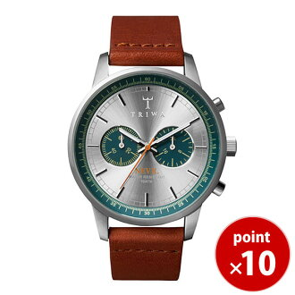 Tri TRIWA mens Womens Unisex Watch chronograph STEEL NEVIL Petroleum NEST107 silver × green x brown leather belt