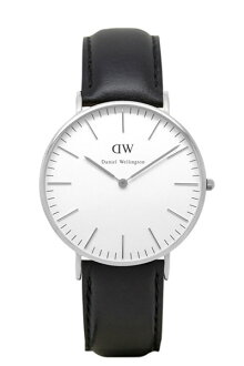 Daniel Wellington Daniel Wellington classical music 36mm silver X Sheffield leather strap black unisex men Lady's combined use watch 0608DW