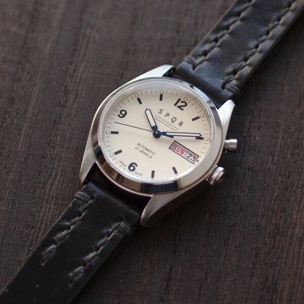 SPQR スポール メンズ・レディース兼用 腕時計 自動巻 デイデイト (日付・曜日) アイボリーフェイス SOMES ソメス ブライドルレザー ブラック【正規品】【送料無料】 腕時計 腕時計
