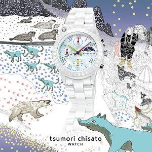 ツモリチサトtsumorichisatoレディース腕時計うでどけいウォッチホワイトキャット!whitecat!シロクマセラミックホワイトセラミックセラミックベルトクロノグラフブラックダイアルNTAR003【正規品】【送料無料】