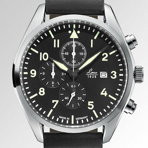 ラコ LACO パイロットウォッチ Trier トリーア 861915 メンズ ドイツ製 クォーツクロノグラフ 腕時計 径42mm ブラックレザーベルト 【正規品】【送料無料】