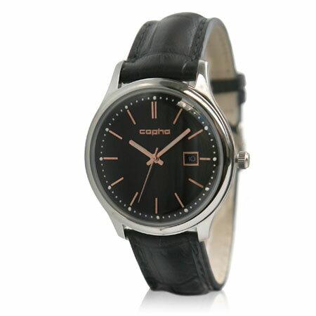 コプハ copha メンズ 腕時計 SC40-2675 【スリムクラシック40 Slim Classic 40】 フランス製クロコレザーベルト ブラック・ローズゴールドXブラック 【正規品】【送料無料】