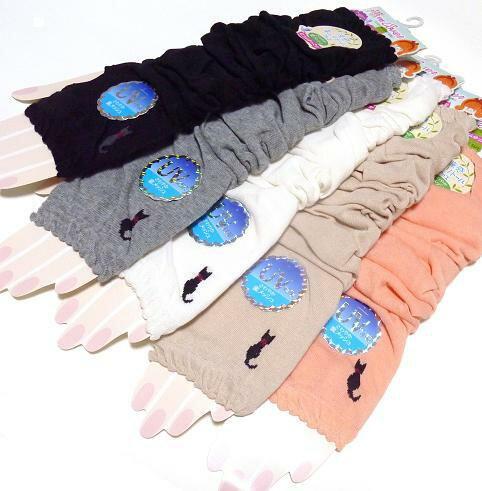 ロング手袋 アームカバー♪「黒猫リボン」