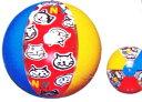 ブルー・レッド・イエローのカラーと交互にいろんなネコチャン顔がプリント!asマンハッタナーズ ビーチボール「ギャザーキャッツ」40cm