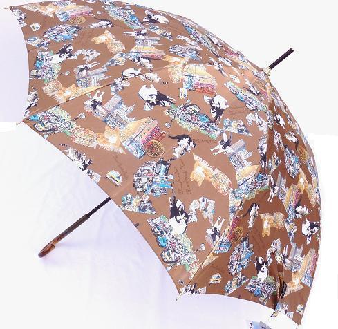 Manhattaner'sマンハッタナーズ婦人長傘「絵本ミックス」 【_包装】 全面に描かれた天使猫ちゃん達♪に囲まれて雨の日が待ち遠しい♪