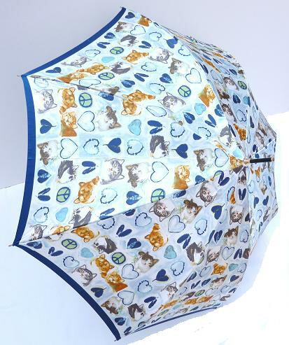 Manhattaner's マンハッタナーズ 婦人長傘「ハートとピースHeart and Peace」ブルー 【_包装】 手元は合皮巻き。猫とハートの刺繍入り♪