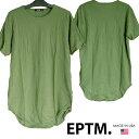 EPTM エピトミ Tシャツ メンズ ロング丈 アーミー 丈長 無地 半袖 ストリート ブランド HIPHOP ウェアー B系 服 ダンス ヒップホップ ファッション カジュアル ウェア スタイル