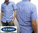【セール】 オールドネイビー メンズ シャツ ブルー 半袖 ボタンシャツ OLD NAVY GAP ストライプシャツ トップス インポート ファッシ..