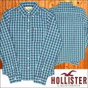 HOLLISTER ホリスター メンズ 長袖 チェックシャツ ボタンシャツ ターコイズブルー ネイビー シャツ インポート ブランド ファッシ..