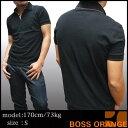 ヒューゴボス オレンジ メンズ ポロシャツ ブラック HUGO BOSS ヒューゴ ボス トップ