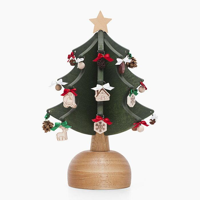 オルゴールツリー プチ(グリーン)【木製】【日本製】【クリスマスツリー】【オルゴール】 【飛騨高山 オークヴィレッジ・Oak Village】