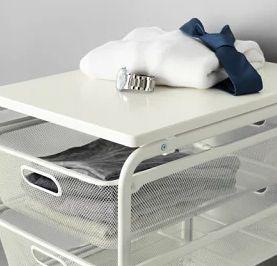 IKEA ALGOT イケア フレーム/メッシュバスケット4個/トップシェルフ ホワイト 592.761.67