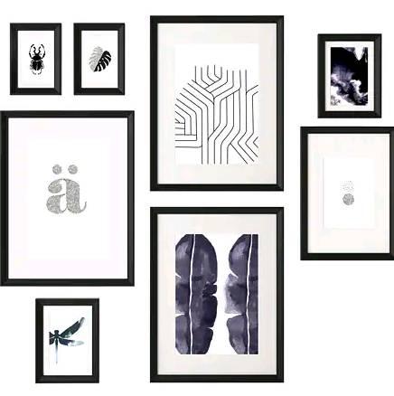 IKEA KNOPPANG イケア クノッペング ポスター付きフレーム8個セット, ブラック 504.220.74の写真