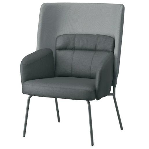 【NEW】IKEA イケアBINGSTA ビングスタパーソナルチェア 背もたれ高, ヴィースレ ダークグレー/カブーサ ダークグレー 304.542.35