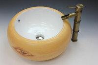 洗面ボウル(洗面ボール手洗い鉢)+ポップアップ排水栓、排水Sトラップセットおしゃれ洗面器洗面台洗面化粧台手洗い器手洗いボウル陶器洗面ボウルKORS-1412B