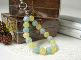 电源石 - 石选择容易礼品包装 - 柔和的黄色方解石,天河AAA表带活泼翠蓝色和黄色的石头带电源石[パワーストーン アマゾナイト・イエローカルサイトAAA ストラップ天然石 パワーストーン]