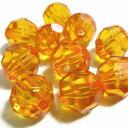 【50円均一】アクリルビーズ*約10mm*ファセットラウンド・オレンジ*10個入り